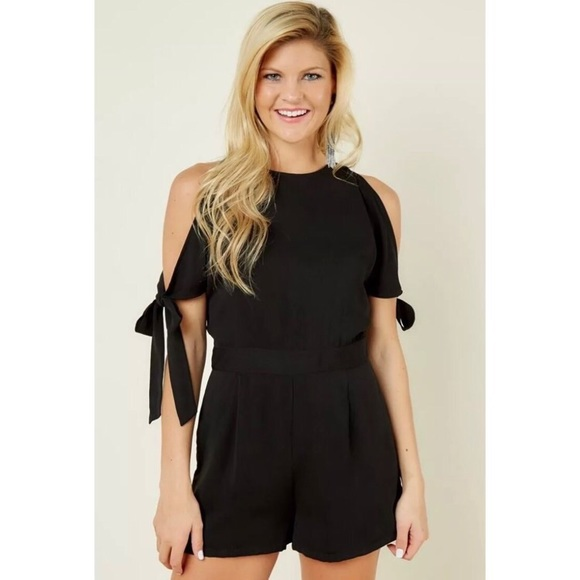 d6b1bd79da NEW Black Tie Sleeve Romper Playsuit Large